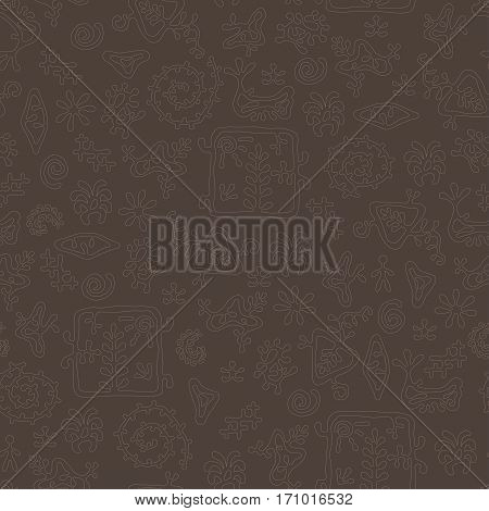 Smooth rock-painting style prehistoric floral seamless vector pattern. Milk chocolate color
