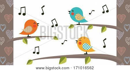Bird cartoon character.Singing Birds on a branch.Vector cartoon bird.Flat style design.Bird on atree with poop