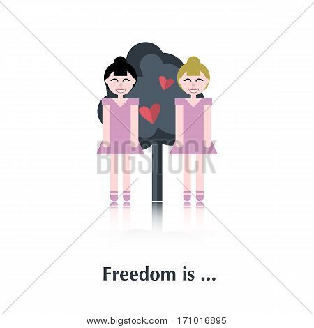 Lesbians People icon, pictogram.Concept free relationships, lesbians, tree, red heart , bird, over white with text Freedom is, in flat style