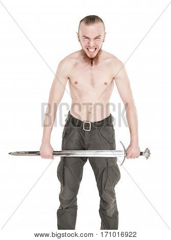 Young handsome man with sword screaming isolated on white
