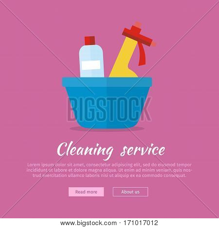 Basin with washing cleaners. Glass cleaner and substance for washing. Sign icon symbols of clean in house. House washing equipment. Office and hotel cleaning. Housekeeping. Vector