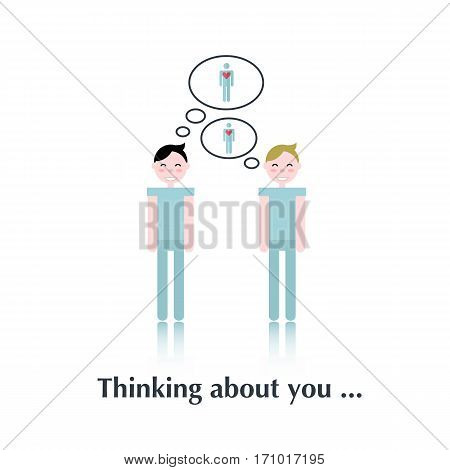 Gay relationships.Vector people icon, pictogram.Concept relationships gay, blue, heart , love, speech bubble, couple, over white with text Thinking about you, in flat stile