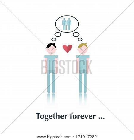 Gay family.Vector people icon, pictogram.Concept of strong relationships, gay, old people, heart, homosexuals, blue, male, speech bubble over white and text Together forever in flat style
