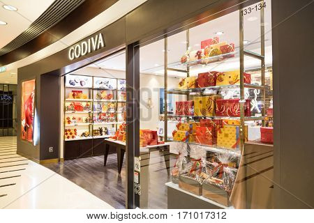 Hong Kong, January 29, 2017: Godiva Chocolate Outlet In Hong Kong. Godiva Chocolatier Is A Manufactu