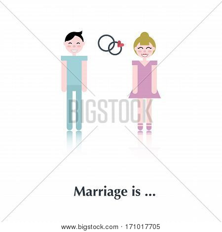 Young marriage.Vector people icon, pictogram.Concept of relationship, marriage, male, female, speech bubble, red, couple, heart, wedding rings, marriage, proposal, over white and text Marriage is, in flat style