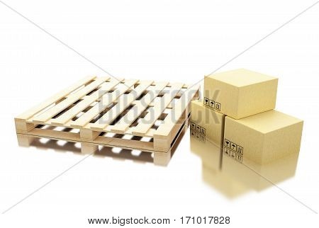3d illustration. Cardboard boxes  near pallet. Delivery and transportation package concept. Isolated white background