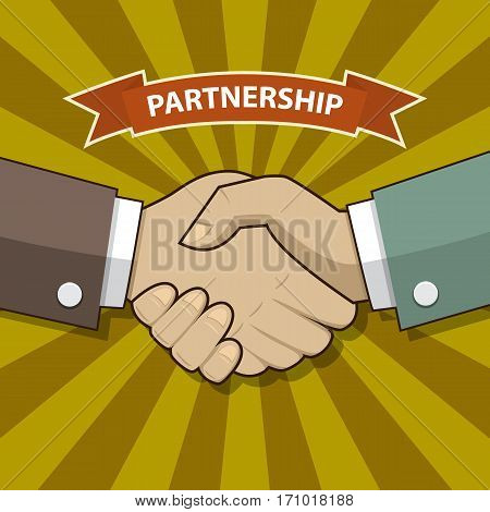 Businessman handshake, Partnership icon with shadow in old school style and text Partnership in flat style