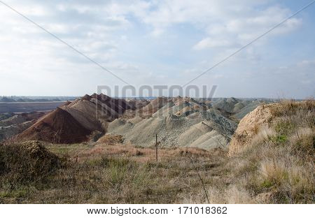 part of the quarry with manganese ore on the spot plain