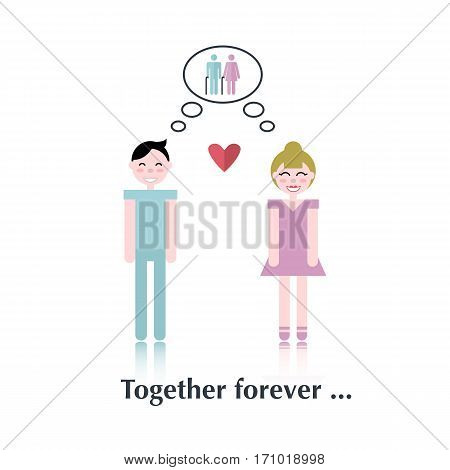 Family relationships.Vector people icon, pictogram.Concept of strong relationships, old people, heart, male, female, speech bubble over white and text Together forever