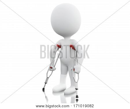 3D White People On Crutches.