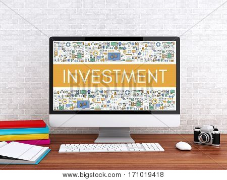 3D Computer With Word Investment.