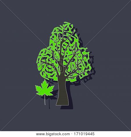paper sticker on stylish background of plant Acer