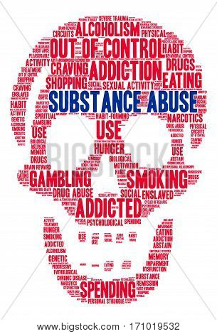 Substance Abuse word cloud on a white background.