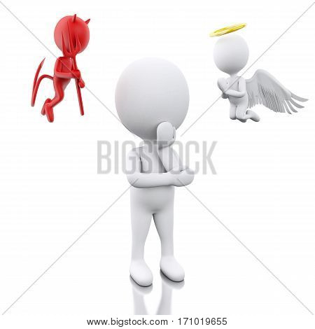 3D White People With Angel And Devil.