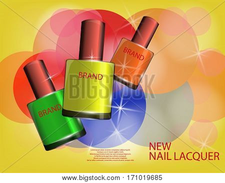 Colorful nail lacquer template glossy bottles on the sparkling effects background. Mockup 3D Realistic Vector illustration for design template