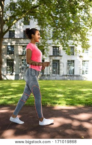 fitness woman speed walking in the park