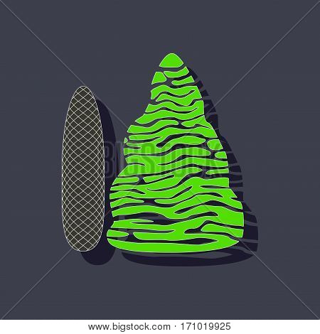 paper sticker on stylish background of plant Picea