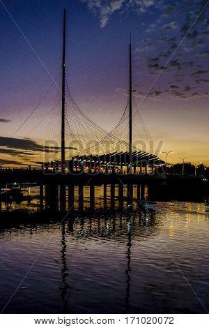 El Velero Bridge Night Scene Guayaqui Ecuador