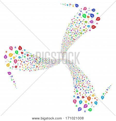 Banking Map Marker fireworks swirl rotation. Vector illustration style is flat bright multicolored iconic symbols on a white background. Object spiral done from random icons.