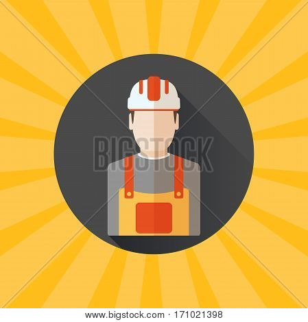 Blank of poster for Happy Labor Day with builder in helmet on the yellow background with rays.