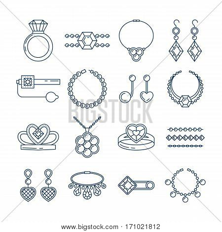 Set of vector jewelry line icons. Diamond luxury collection isolated on white. Ring necklace earrings chain diadem silhouettes. Pearl gold silver gem crystal sapphire element. Treasure collection