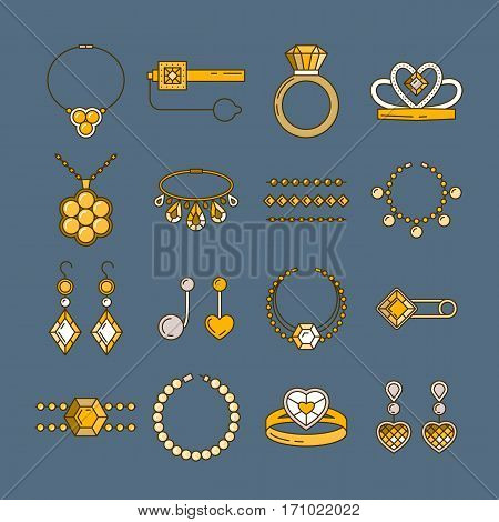 Set of vector jewelry line icons. Diamond luxury collection in golden colors isolated. Ring necklace earrings chain diadem silhouette. Pearl gold crystal sapphire element. Treasure collection