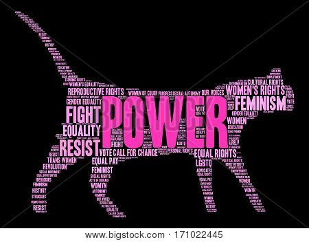 Power Women's Rights word cloud on a black background.