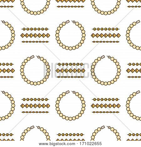 Set of vector jewelry line seamless pattern. Diamond luxury colorful collection. Chain and bracelet silhouettes. Gold gem crystal sapphire element. Treasure collection