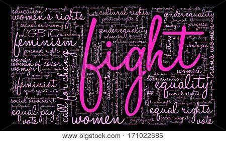 Women's Rights Fight word cloud on a black background.