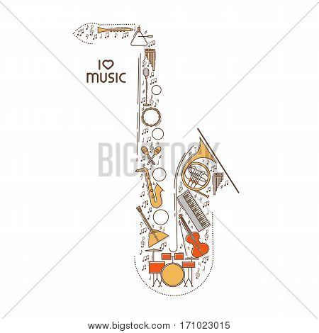 Flat line music icon set in saxophone shape. Vector concept. Modern illustration. Vintage background design. Retro creative sound cover. Musical instrument collection.