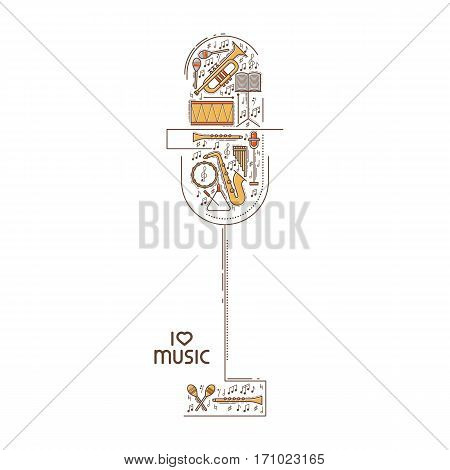 Flat line music icon set in microphone shape. Vector concept. Modern illustration. Vintage background design. Retro creative sound cover. Musical instrument collection.