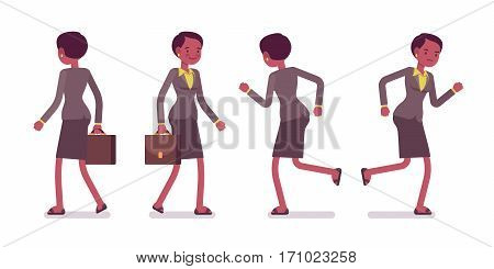 Set of female professional teacher in formal wear, walking and running poses, hurry for the lesson, on the way to shool or college, full length, front and rear view, isolated against white background