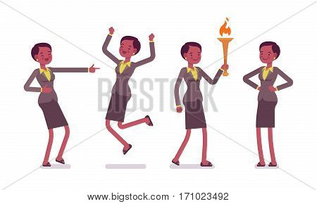 Set of female professional teacher in formal wear showing positive emotions, successful, jumping with joy, bearing a torch, laughing, feeling happy and enthusiastic, full length, white background