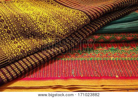 Craftsmanship thai striped sarong Colorful pattern beautiful
