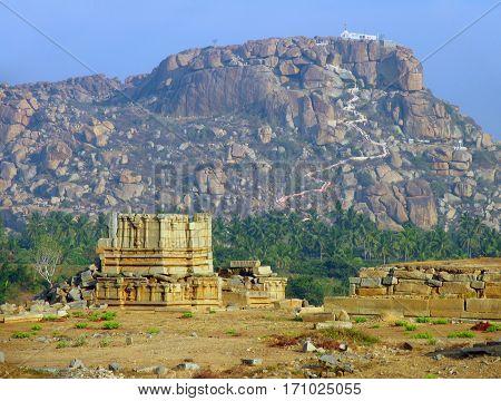 Hanuman Temple on the sacred Anjenadri hill in Hampi Karnataka state India