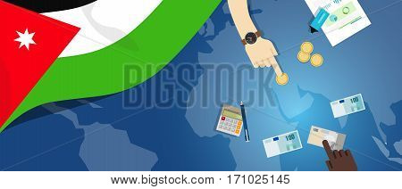 Jordan economy fiscal money trade concept illustration of financial banking budget with flag map and currency vector
