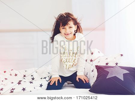 Happy Vigorous Young Girl Wakes Up In The Morning Sun Light, Cute Toothless Smile