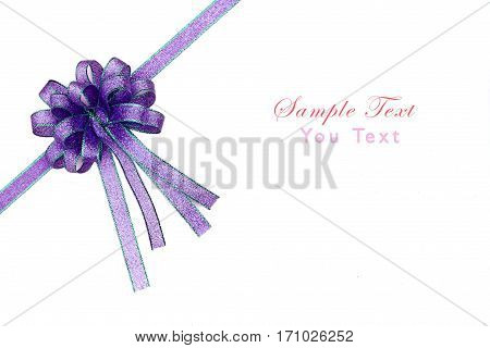 Beautiful bow on white background, purple color