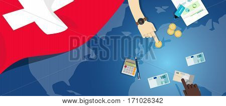 switzerlandeconomy fiscal money trade concept illustration of financial banking budget with flag map and currency vector