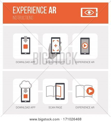 Augmented reality how it works and step by step procedure: app download product scan and ar experience icons set