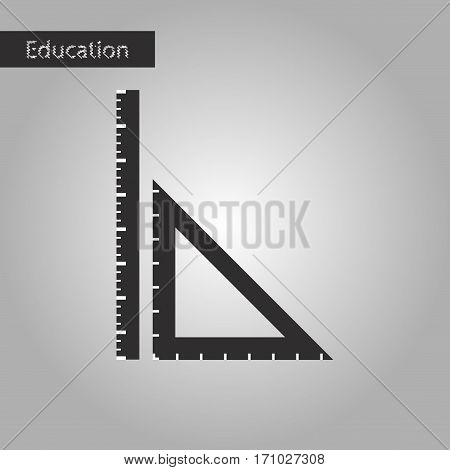 black and white style icon ruler education