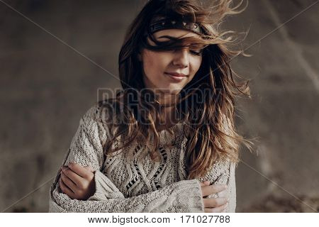 Beautiful Hipster Woman In Boho Indie Clothes, Posing In Winter Outdoor, Face Closeup, Leather Headb