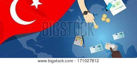 Turkey economy fiscal money trade concept illustration of financial banking budget with flag map and currency vector