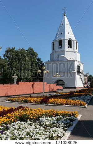 Syzran. View on the Kremlin. Flower beds in the Park behind the Kremlin in summer.