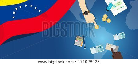 Venezuela economy fiscal money trade concept illustration of financial banking budget with flag map and currency vector
