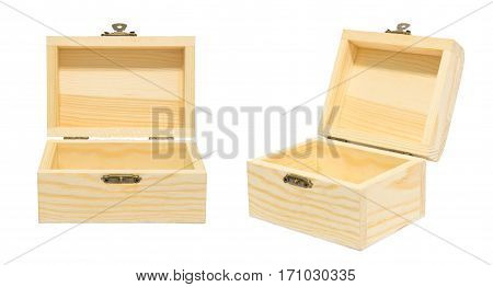 Clean Vintage Opened Box Wood Crate Chest Isolation on White Gift Present Reward Concept.30 degree angle view.