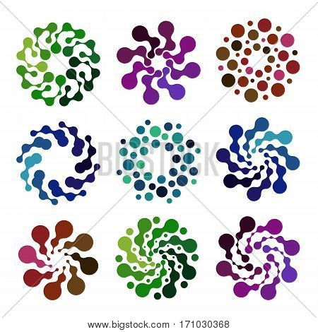Isolated abstract colorful round shape logos set, decorative elements on white background vector illustration