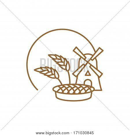 Bakery Logo Linear Style. Store Bread Emblem. Bakehouse Sign. Mill And Wheat. Bread And Cake. Bakesh