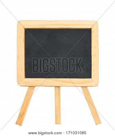 Black chalk board with clean wooden frame and tripod stand isolated on white with clipping path