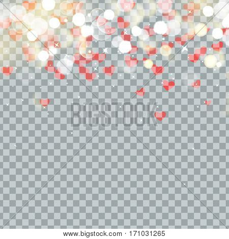 Light bokeh and Heart of Valentines petals falling on transparent background. Flower petal in shape of heart confetti.